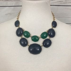 Navy Blue, Green and Gold Statement Necklace